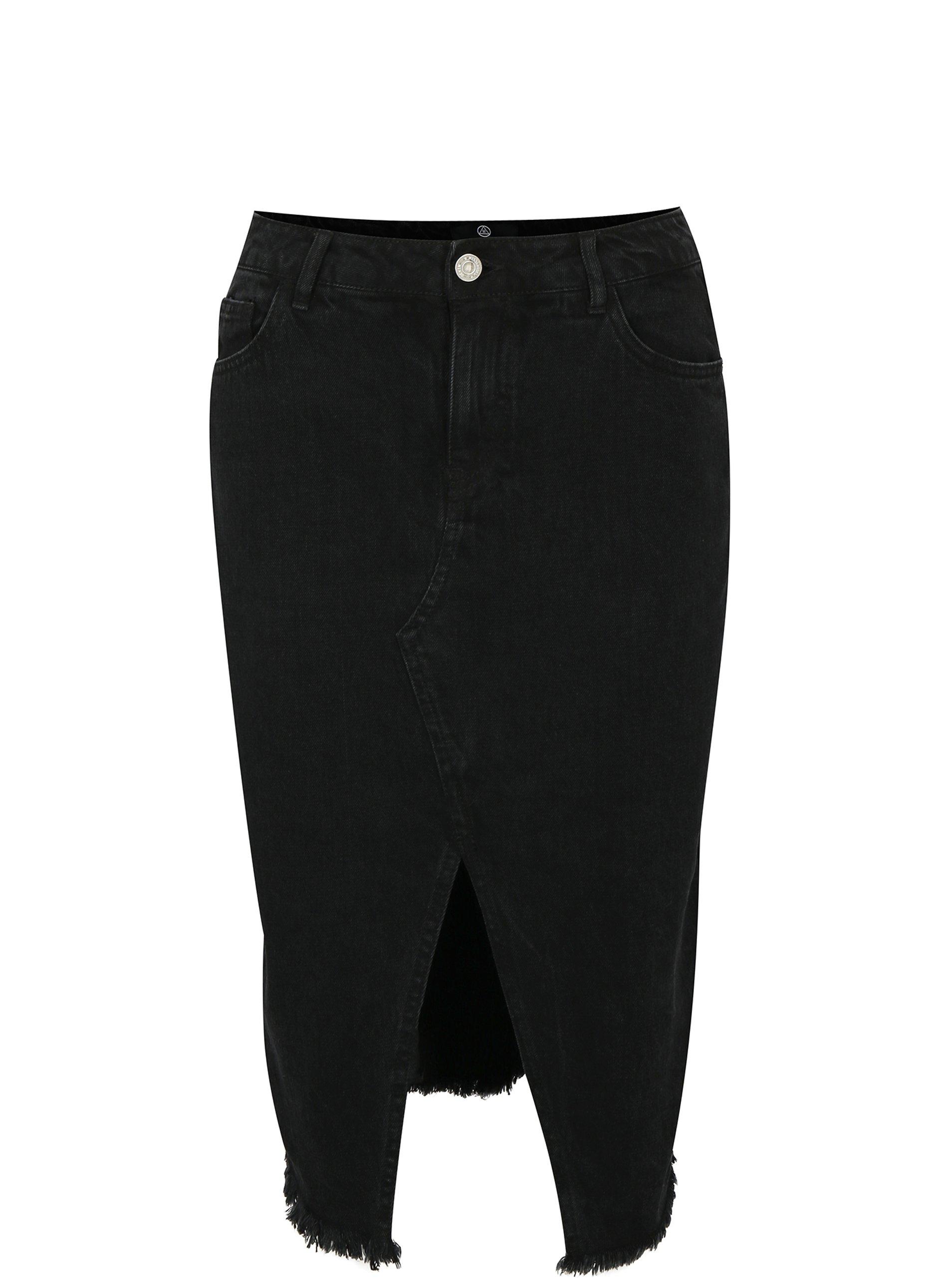 7ed279bc73fb Čierna rifľová puzdrová sukňa s rozparkom MISSGUIDED