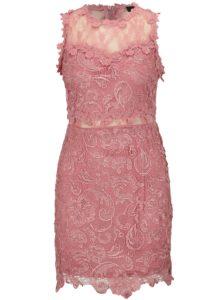 Ružové čipkované šaty MISSGUIDED