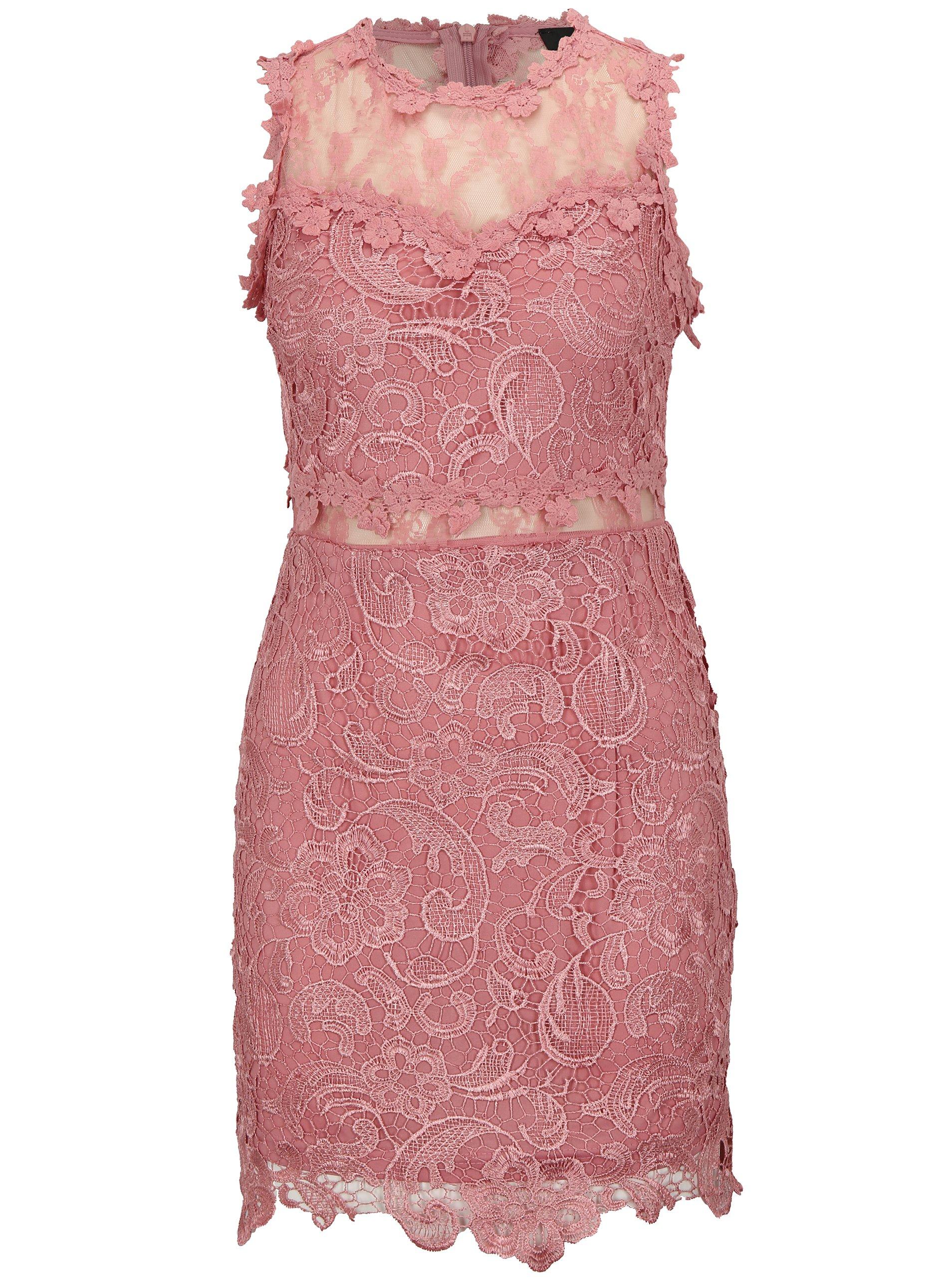 c4418776c77b Ružové čipkované šaty MISSGUIDED
