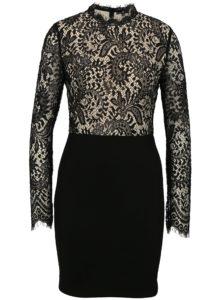 Béžovo-čierne čipkované šaty s dlhým rukávom MISSGUIDED