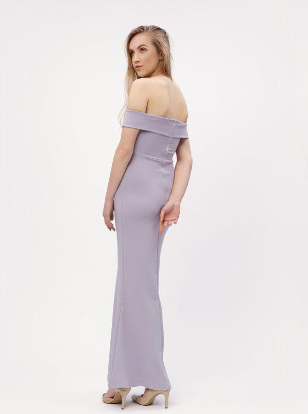 Svetlofialové dlhé šaty s odhalenými ramenami MISSGUIDED
