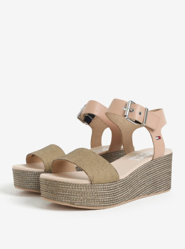 Béžové kožené sandále na platforme Tommy Hilfiger