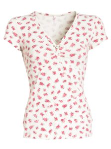 Krémové kvetované tričko s véčkovým výstrihom Blutsgeschwister