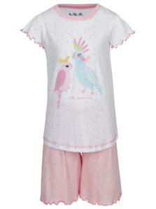 Ružovo-biele dievčenské bodkované pyžamo s potlačou 5.10.15.