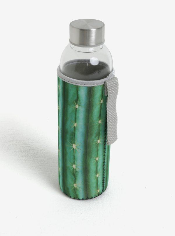 Sklenená fľaša v zelenom termo obale Kikkerland