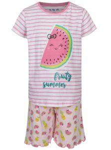 Bielo-ružové pruhované dievčenské pyžamo s potlačou 5.10.15.