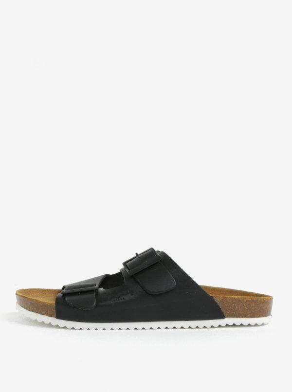 Čierne pánske kožené šľapky Pepe Jeans Bio basic