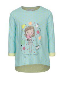Modré bodkované dievčenské tričko s potlačou 5.10.15.