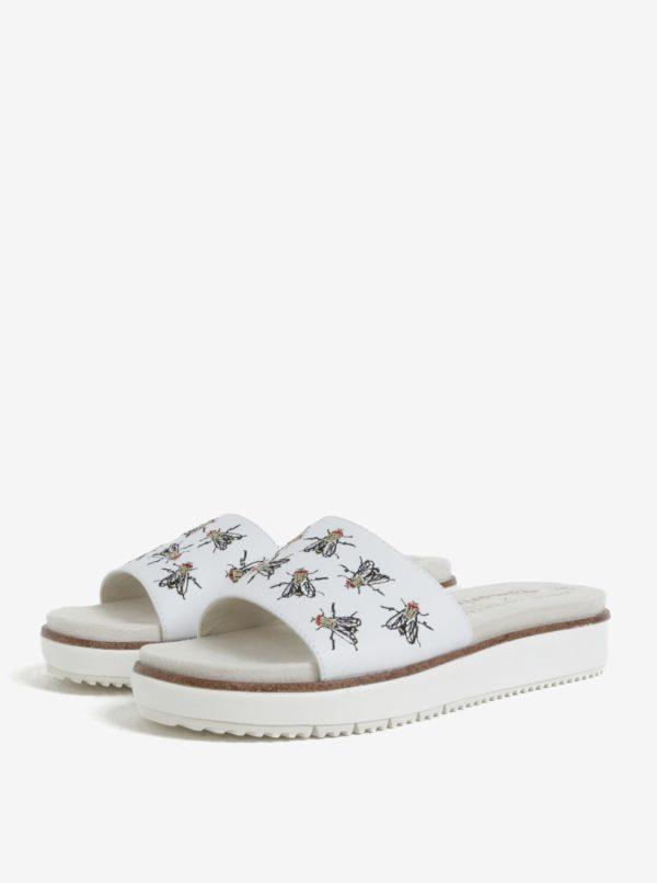 Biele kožené papuče s výšivkami múch Tamaris