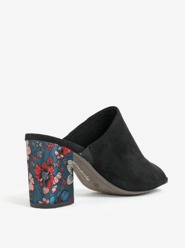 Čierna papuče v semišovej úprave na podpätku Tamaris