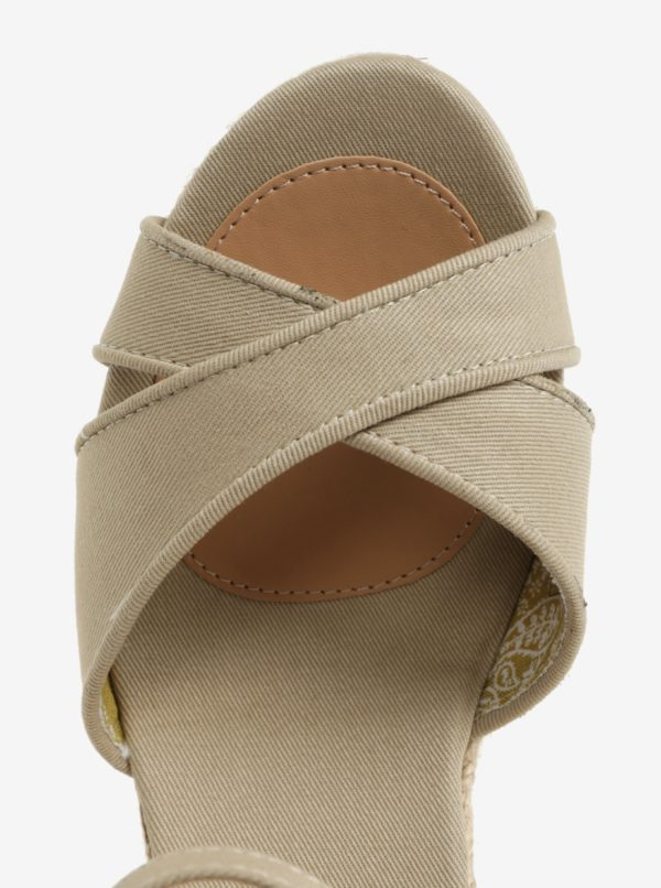 Béžové dámske sandále na klinovom podpätku Pepe Jeans Shark Basic