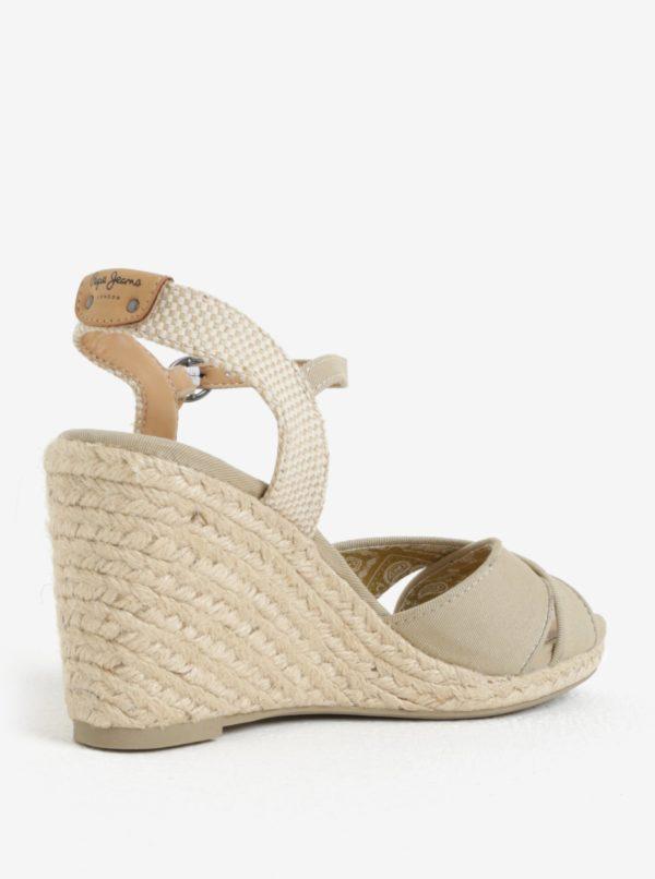 7e7aa16cf0 Béžové dámske sandále na klinovom podpätku Pepe Jeans Shark Basic ...