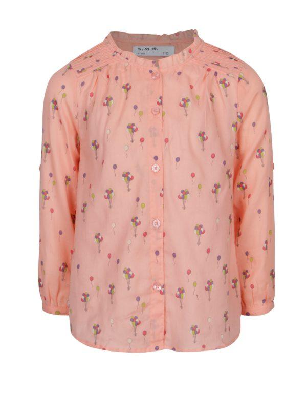 Svetloružová dievčenská vzorovaná košeľa 5.10.15.