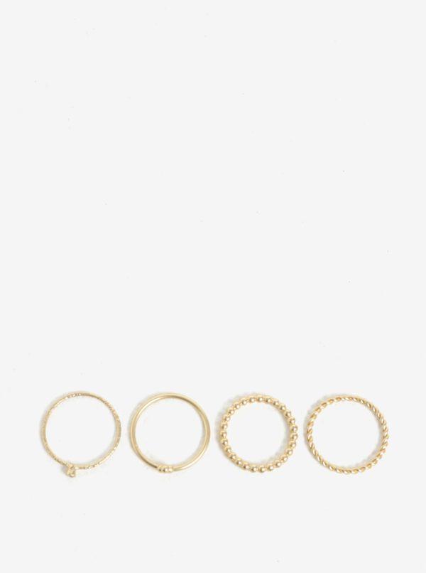 Súprava štyroch prstienkov v zlatej farbe VILA Efj Aura