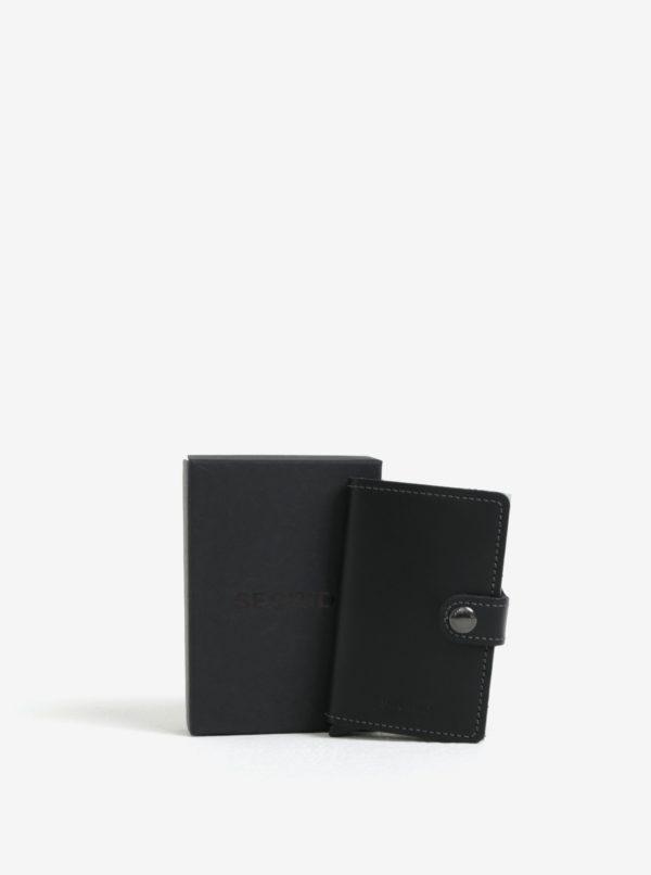 Čierna pánska kožená peňaženka s hliníkovým puzdrom s RFID Secrid Miniwallet