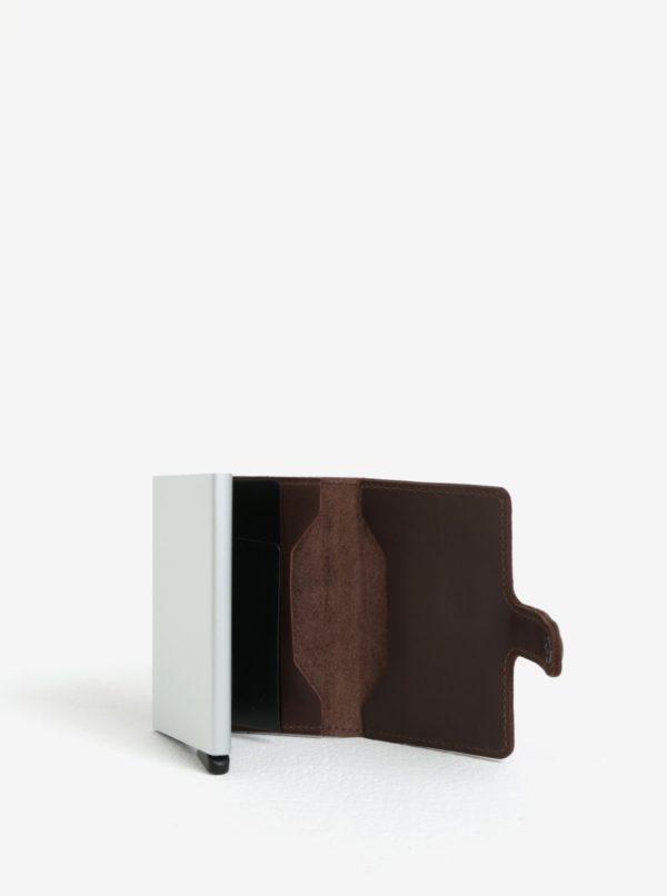 Tmavohnedá pánska kožená peňaženka s hliníkovým puzdrom s RFID Secrid Miniwallet