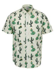 Svetlozelená vzorovaná slim košeľa s krátkym rukávom ONLY & SONS Cool