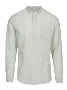 Svetlozelená ľanová slim košeľa ONLY & SONS Caiden