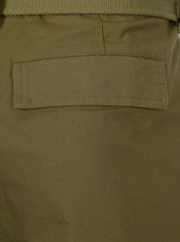 Kaki regular nohavice s vreckami a opaskom ONLY & SONS Nadir