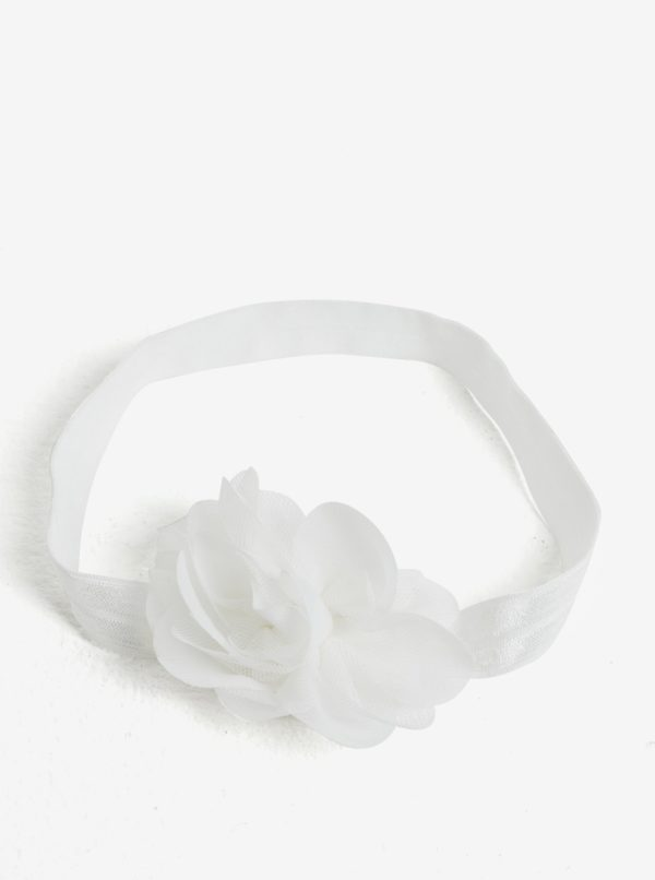 Biela dievčenská čelenka s kvetinkou name it Facc-Jonori