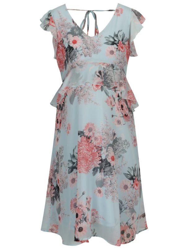 Svetlomodré kvetované tehotenské šaty s volánmi Mama.licious Dalia