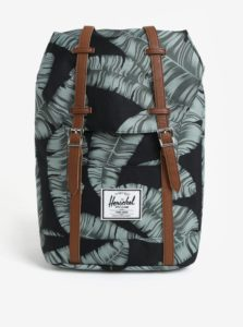 Zeleno–čierny batoh s potlačou listov Herschel Retreat 19,5l