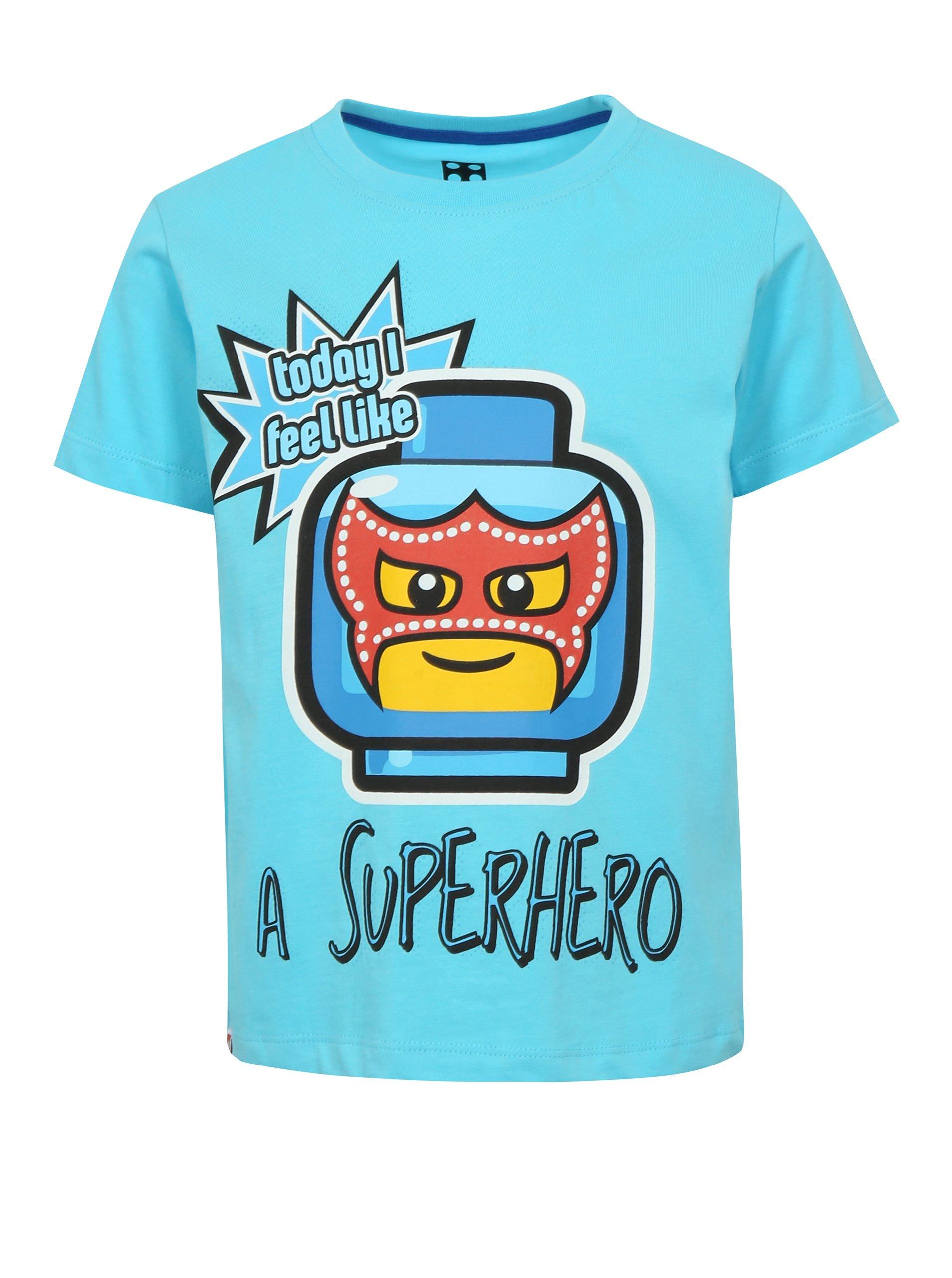 9738b74cb49f Modré chlapčenské tričko s potlačou a nápisom Lego Wear