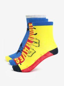 Žlto-modrá súprava troch párov chlapčenských ponožiek Lego Wear Aiden