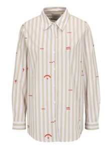 Béžovo-biela pruhovaná košeľa s výšivkami Scotch & Soda