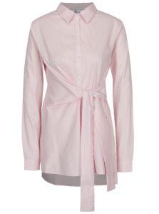 Bielo-ružová pruhovaná predĺžená košeľa s výšivkou SH Licogna