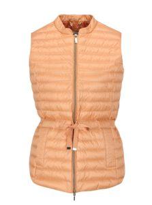 Oranžová dámska páperová vesta so sťahovaním v páse Geox