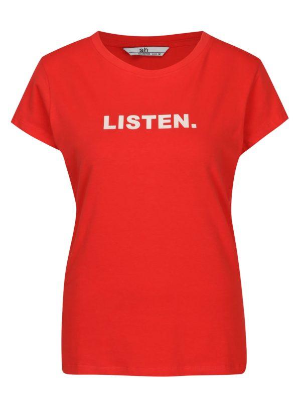 Červené tričko s potlačou a krátkym rukávom SH Licogna