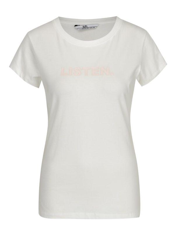 Biele tričko s potlačou a krátkym rukávom SH Licogna