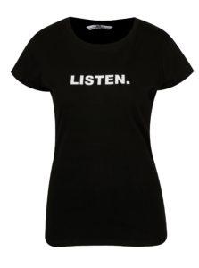 Čierne tričko s potlačou a krátkym rukávom SH Licogna