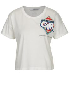 Biele skrátené tričko s potlačou SH Colniza