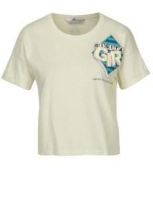 Svetložlté skrátené tričko s potlačou SH Colniza