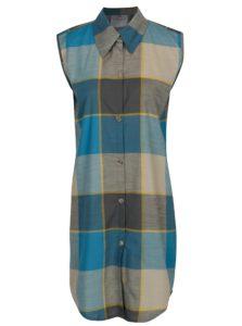Tyrkysové kockované košeľové šaty SEVERANKA