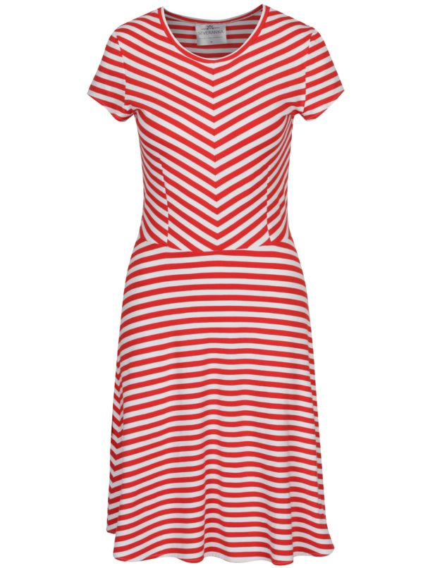 Bielo-červené pruhované šaty SEVERANKA