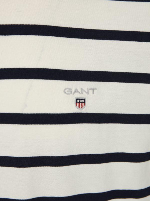 Biele pruhované pánske tričko s krátkym rukávom GANT