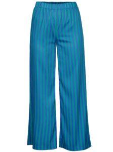 Zeleno-modré pruhované voľné nohavice s vysokým pásom SH Rebucas