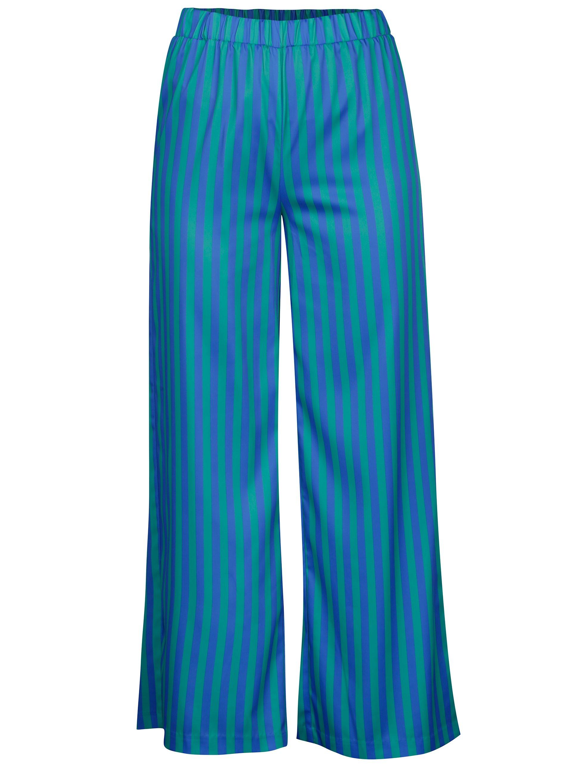Zeleno-modré pruhované voľné nohavice s vysokým pásom SH Rebucas ... f4e29f47581
