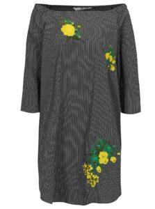 Tmavosivé pruhované šaty s odhalenými ramenami SH Pereirde