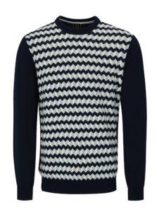 Modrý vzorovaný sveter Merc