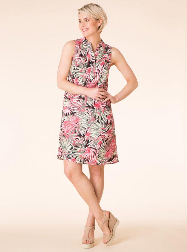 Ružovo-zelené vzorované ľanové šaty Yest