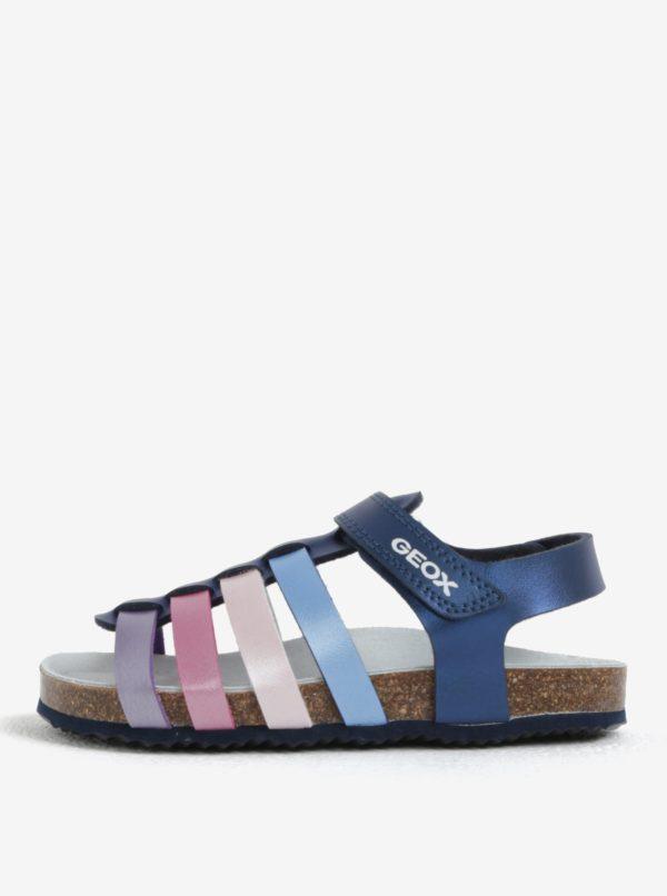 Tmavomodré dievčenské kožené sandále Geox
