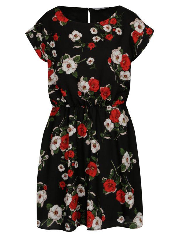 Čierne kvetované šaty s krátkym rukávom SH Refente