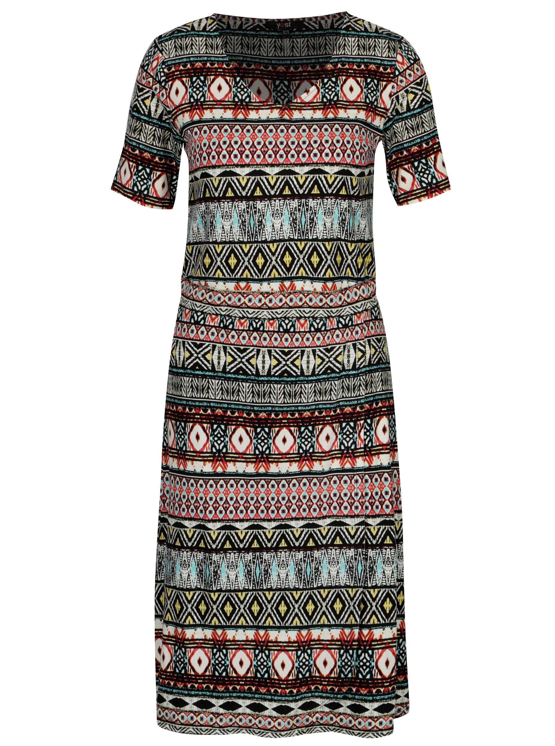 1f0ffcddf904 Červeno-čierne vzorované šaty s 3 4 rukávom Yest