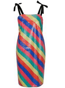 Farebné pruhované flitrované šaty SH Bombinas