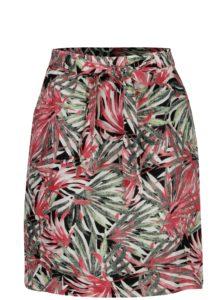 Ružovo-zelená vzorovaná ľanová sukňa Yest