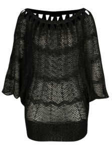 Čierny priesvitný sveter s netopierími rukávmi Yest